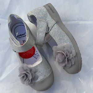 NEW pediped Estella Silver Mary Jane Shoes 13-13.5